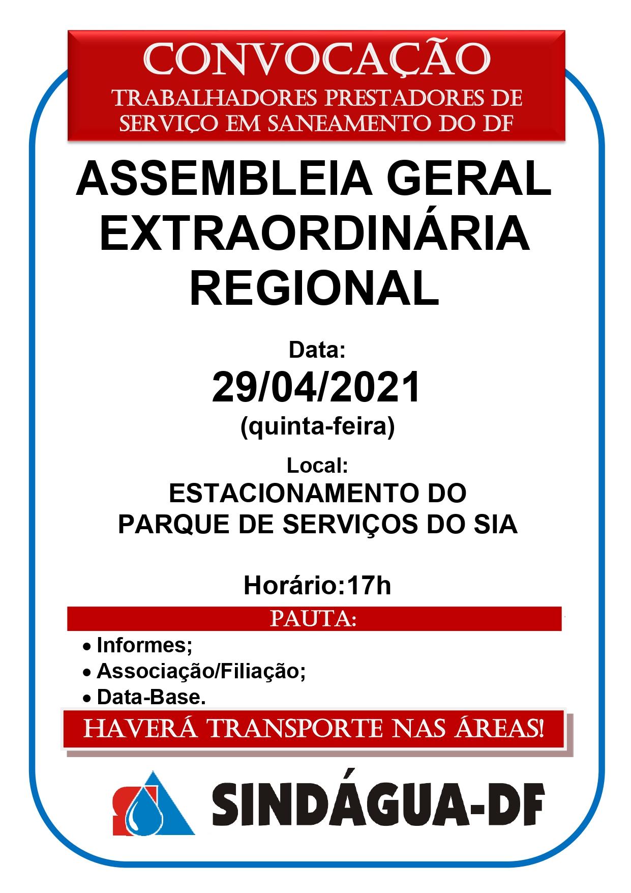 ASSEMBLEIA GERAL EXTRAORDINÁRIA REGIONAL DIA 29/4 (REGIÃO CENTRAL)