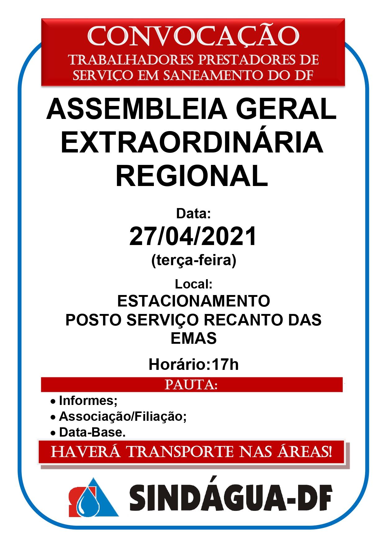 ASSEMBLEIA GERAL EXTRAORDINÁRIA REGIONAL DIA 27/4 (REGIÃO SUL)