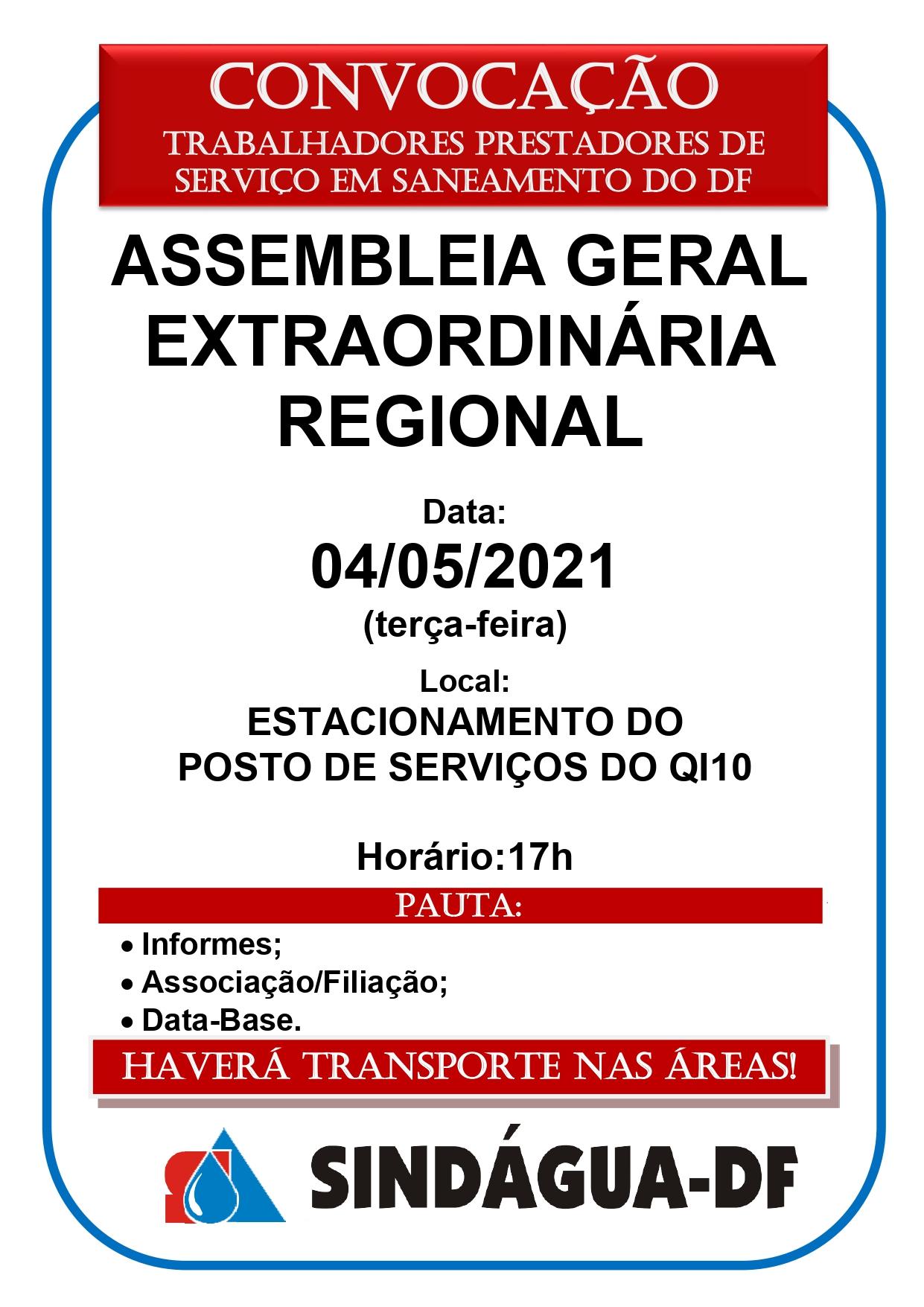 ASSEMBLEIA GERAL EXTRAORDINÁRIA REGIONAL DIA 04/5 (REGIÃO OESTE)