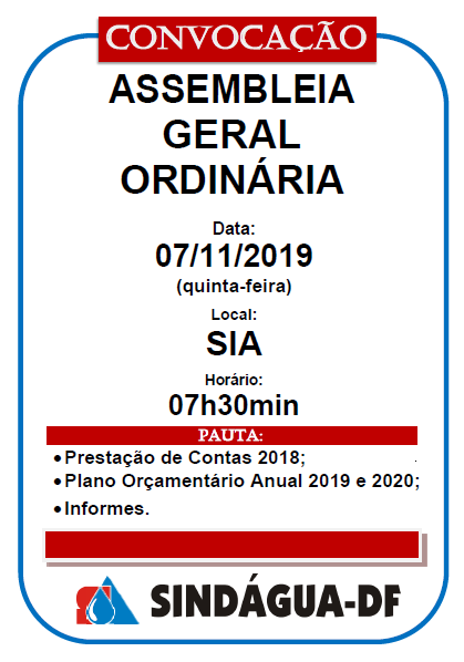 ASSEMBLEIA GERAL ORDINÁRIA 07/11/2019