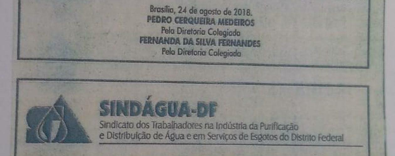 Edital de ELEIÇÃO SINDAGUA
