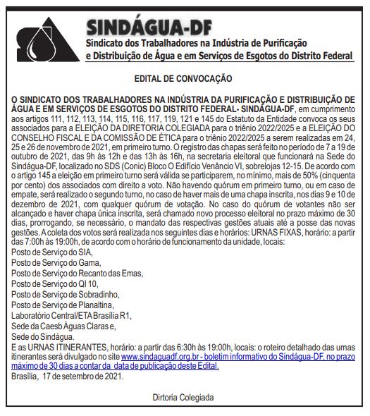 ELEIÇÕES SINDÁGUA-DF